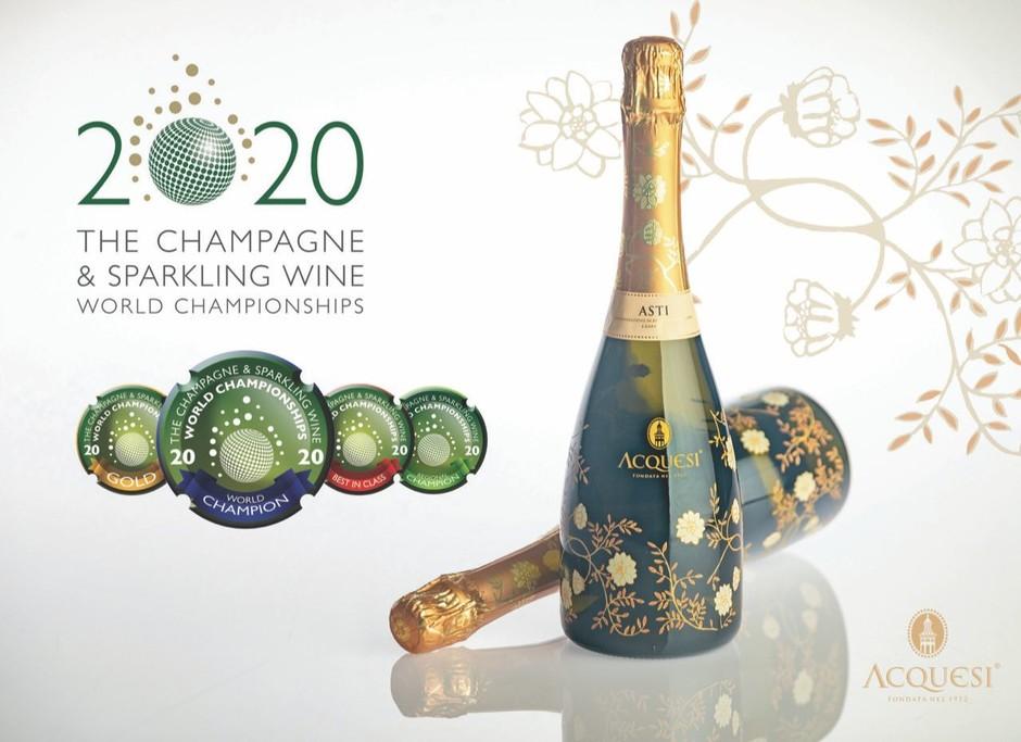 """Cuvage Asti DOCG """"Acquesi"""" è, di nuovo, Campione Mondiale degli spumanti aromatici al concorso Champagne & Sparkling Wine World Championships"""